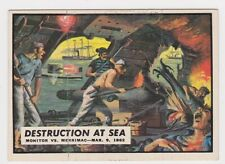 1962 TOPPS CIVIL WAR NEWS CARD #10 DESTRUCTION AT SEA, MONITOR VS. MERRIMAC