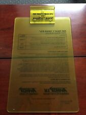NEW AVELOX Drug Rep Long Clipboard CLEAR YELLOW PLASTIC BAYER