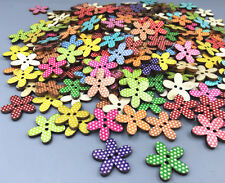 50X Retro Wooden Flowers Buttons Dot Mixed-color Sewing scrapbooking crafts 20mm