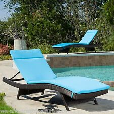 (Set of 2) Blue Cushion Pads For Outdoor Patio Chaise Lounge Chairs