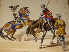GRANDE Litho UNIFORME COSTUME MILITAIRE FRANCOIS 1er Cie ORDONNANCE CHEVAUX 1650