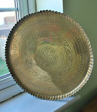 Vintage and Large Middle Eastern Circular Brass Tray    #66