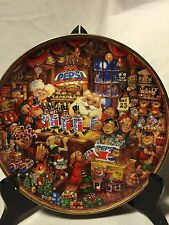 Santa's Pepsi-Cola Workshop By Bill Bell-Franklin Mint Collectible Plate 1995