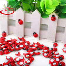 100X Mini Wooden Ladybird Ladybug Sticker Adhesive Fridge Party Decorating Craft