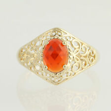 Mexican Fire Opal Ring - 14k Yellow Gold Solitaire 1.05ct