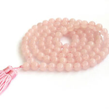 Pink Jade Gemstone Tibet Buddhist Prayer Beads Mala Necklace108 Beads 8mm