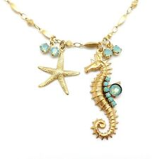CLARA BEAU Gold Pacific Opal & Turquoise Seahorse Swarovski Necklace NC415G