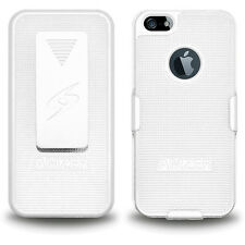 AMZER WHITE SHELL CASE & HOLSTER COMBO WITH BELT CLIP FOR APPLE iPHONE 5/5S/SE