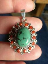 Beau pendentif artisanal en ARGENT massif 925 avec turquoise et corail poinçon
