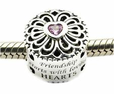 LOVE & FRIENDSHIP PINK CZ .925 Sterling Silver European Charm Bead U2