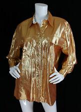 Escada Sz 38 Gold Silk Lame Gold Buttons Long Sleeve Blouse Top Vtg