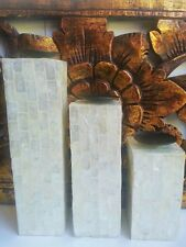 SET 3 MOTHER OF PEARL SHELL WHITE TEA LIGHT CANDLE HOLDERS COLUMNS BALI BALINESE