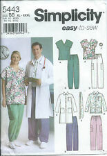 S 5443 sewing pattern SCRUB TOPS JACKETS PANTS TIE HAIRBAND sew Medical Uniform
