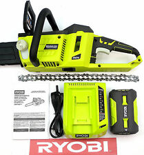 """RYOBI 40 VOLT CORDLESS 14"""" IN BRUSHLESS CHAINSAW w/ BATTERY & CHARGER RY40502"""