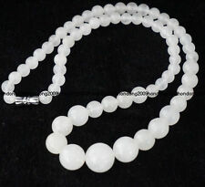 6-14mm Natural White jade Round Beads Gemstone Necklace 17""