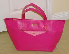 VICTORIA'S SECRET ~ LARGE EAST/WEST LEATHER TOTE SHOPPER/ BAG IN PINK  ~ NEW
