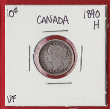 1890 Mint Mark H Ten Cent Coin Canada Silver Dime 1011  See Scans  VF