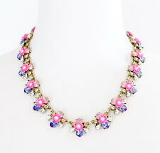 BLUE RHINESTONE ROSE PINK FLOWER Gold Designer Collar Pendant Statement Necklace