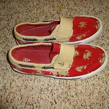 Mens Lands End Slip On Velcro Boat Shoes Size 6 Red Crabs graphic