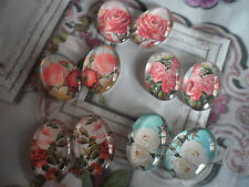 10 Vintage Flower Image 18x25mm Cabochons,Assorted Colours, Glass Cameo 5 pairs