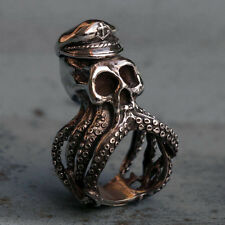 Mexican Biker Ring sterling silver skull pirate Caribbean Captain octopus squid