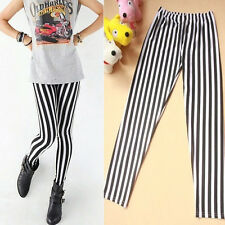Fashion Skinny Chic Look Vertical Stripe Zebra Leggings Pants Autumn Black&White