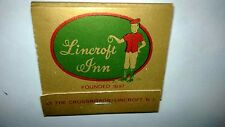 "Vintage "" LINCROFT INN Founded 1697"" New Jersey Matchbook Made in USA"