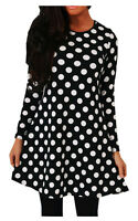 New Ladies Women's Print Long Sleeve Swing Skater Dress Plus Size 8-26
