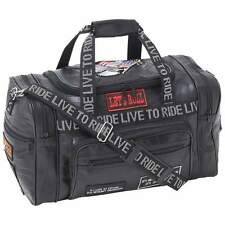 BLACK LEATHER LIVE TO RIDE BIKER BAG MOTORCYCLE CARRY ON TOTE GYM
