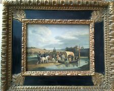 """David Johnson Signed Listed Artist Oil Painting """"Crossing the River""""."""