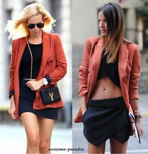 ZARA WOMAN LONG DOUBLE BREASTED JACKET COAT BLAZER ORANGE RUSSET SMALL - S