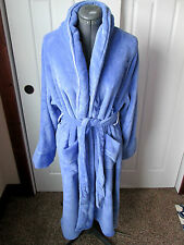 TOMMY HILFIGER L/XL Blue Plush Shawl Collar Wrap Long BATHROBE LOUNGE WEAR NWT