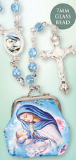 MADONNA & CHILD JESUS GLASS ROSARY BEADS WITH CLOTH PURSE CANDLES STATUES LISTED