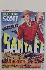 """""""(LA BAGARRE DE) SANTA FE"""" Affiche belge entoilée (Randolph SCOTT,Janis CARTER)"""