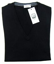Mens COUNTRY CLUB Italy Black Wool Elbow Patch V-Neck Jumper Sweater 50 M NWT