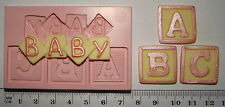 SILICONE MOULD BABY LETTER ABC BLOCK BABY SHOWER CHRISTENING CUPCAKE FIMO TOPPER