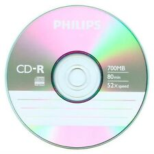 10 52X Philips Logo Blank CD-R CDR Disc 700MB with Paper Sleeves