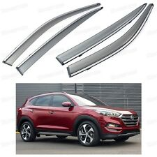 Front & Rear Car Window Visor Deflectors Vent Shade for Hyundai Tucson 2016-Up