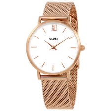 Cluse Minuit White Dial Rose Gold Mesh Ladies Watch CL30013