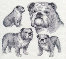 ENGLISH BULLDOG Sketch SET OF 2 BATH HAND TOWELS EMBROIDERED BY LAURA