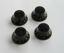 Set of 4 LP Speed Bell Knobs Top Hat Knob Black w/ Gold Numbers fits Les Paul