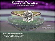 9ct oro Amarillo de Imitación 1ct diamante solitario anillo de compromiso Reino Unido P espumoso