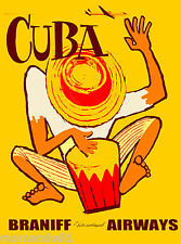 Bongo Drums Cuba Cuban Caribbean Island Vintage Travel Advertisement Art Poster
