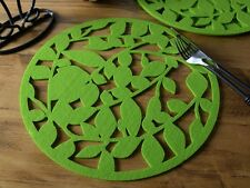 Set of 4 GREEN FELT Laser Cut Out PLACEMATS By Creative Tops