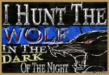 "I Hunt The Wolf In The Dark Thin Blue Line Police Cop Fridge Magnet 3.5""X2.5"""