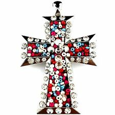 Western Montana Multi_Color Beads Rhinestone Hand-made Cross Magnetic Pendant