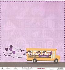Best Creation - School Bus - Cheerleading GLITTER Scrapbooking Paper - DS