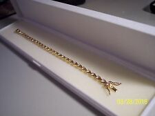 NEW WOMEN'S DESIGNER 18 KT GOLD/STERLING CUBIC ZIRCONIA  TENNIS BRACELET 7 1/4""