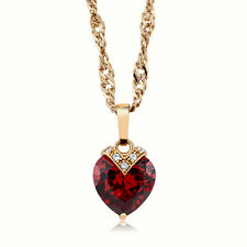 "10ct Red Heart White CZ Yellow Gold Plated Choker Necklace with 16"" Rope Chain"