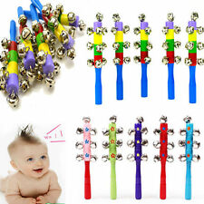 10-Bell Jingle Shaker Rainbow Color Stick Wooden Musical Instrument Children Toy